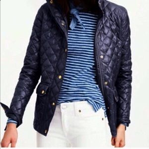 J Crew quilted navy shiny lightweight down jacket